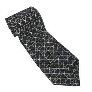 Christian Dior geometric tie green and blue silk